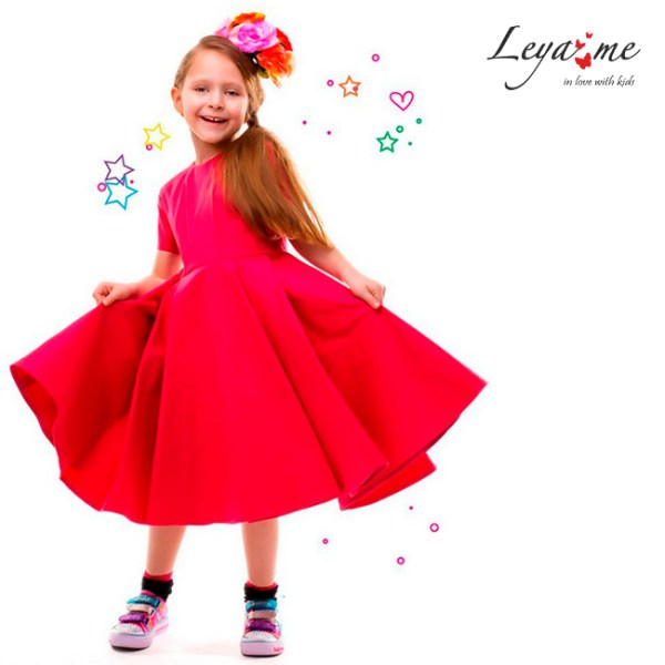 Платье-фуксия детское с пышной юбкой