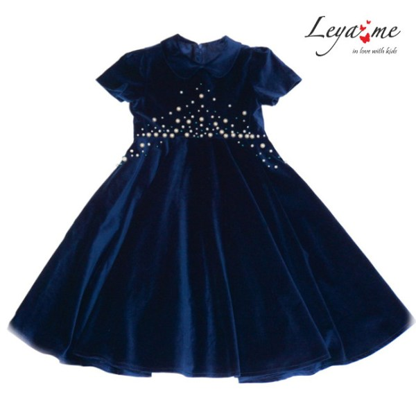 Платье синее бархатное детское