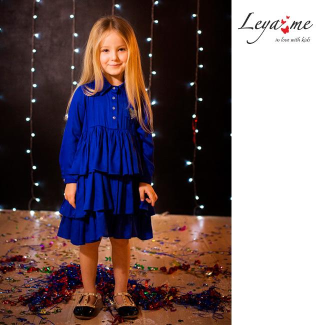 Платье-рубашка детское ярко-синее с воланами и сердечком