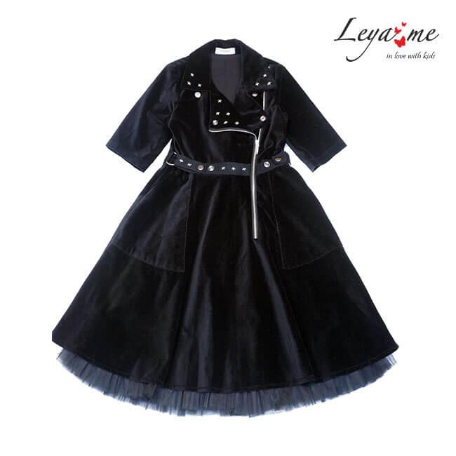 Нарядное детское платье-косуха из черного бархата