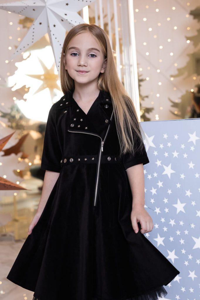 Платье-косуха детское из черного бархата