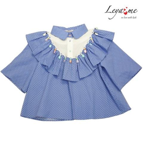 Блузка детская из голубого хлопка в мелкий горошек с воланой