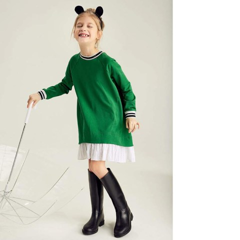 Зеленое платье детское с молнией на спине
