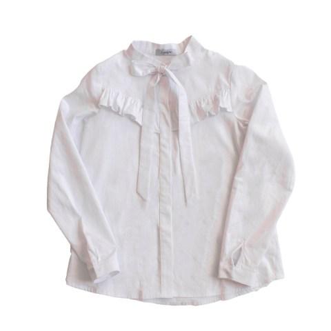 Блузка белая школьная с воланом на лифе и бантом