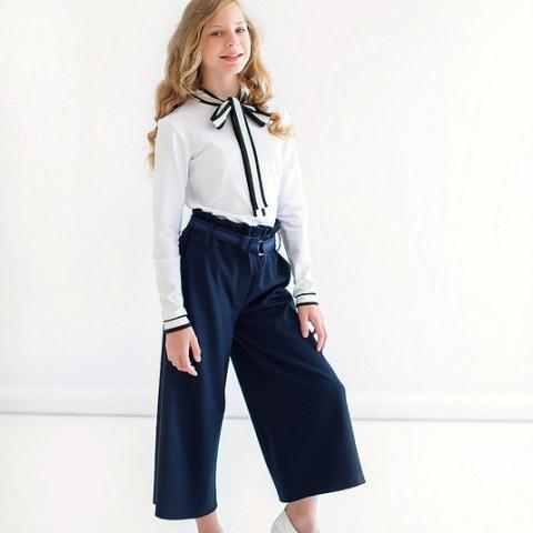 Синие школьные брюки-кюлоты для девочки
