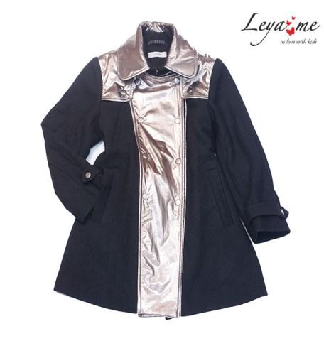 Пальто на девочку черное со вставками