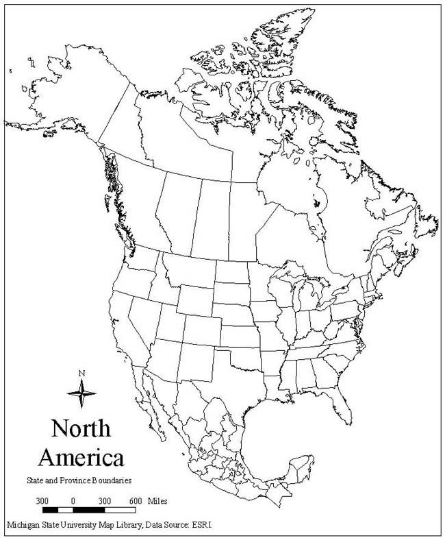Blank Map Of North America Printable