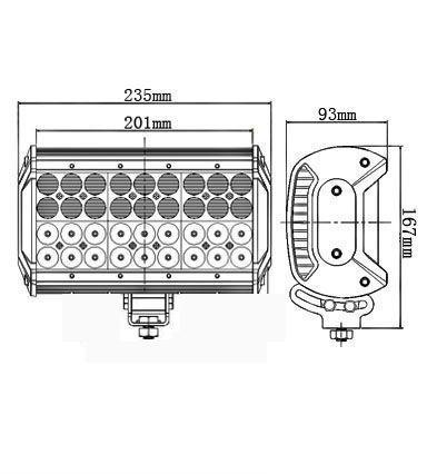 108 Watt 9 Inch Quad-Row off-Road LED Light Bar for ATV