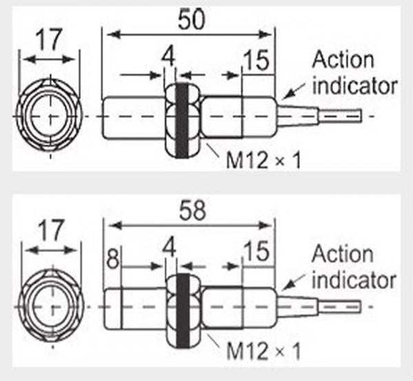 LM12 Non Flush Inductive Proximity Sensor DC 10V 3 / 2