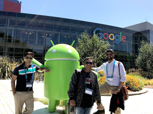 The HireAlchemy leadership team at the Google campus, on a recent trip to San Francisco. From left to right: Niven, US sales rep, Priyadarshi Lahiri, CTO, Arjun Pratap, CEO and founder.