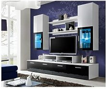meuble tv mural blanc laque comparer