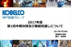 神戸製鋼所、1Qは営業利益138.6%増 自動車向け需要が堅調に推移