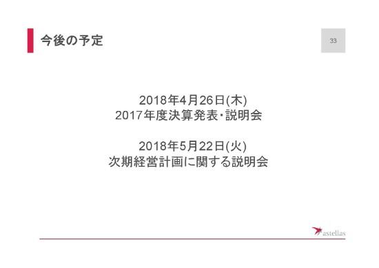 アステラス製薬2017年度3Q33