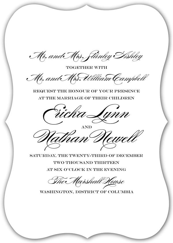 Traditional Wedding Invitation Text