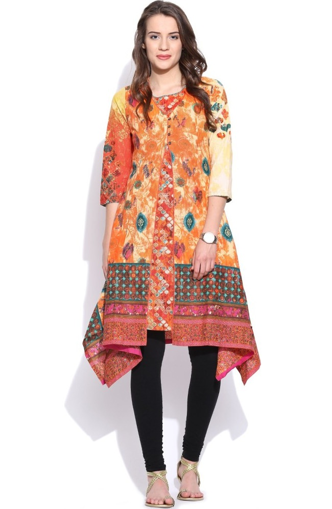 multicolor printed front slit kurti