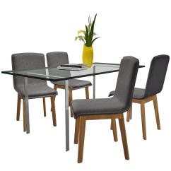 Grey Fabric Oak Dining Chairs Rocker X Gaming Chair Set Of 4 Dark Gray Indoor