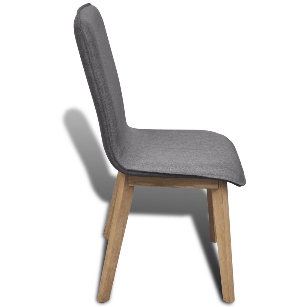 grey fabric oak dining chairs swivel chair bedroom set of 4 dark gray indoor