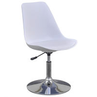white 2 Height Adjustable Swivel Dining Chairs White ...