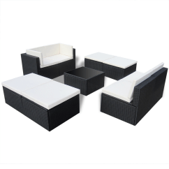 Rattan 4 Piece Sofa Set Black How To Remove A Pen Mark From Leather Patio Furniture For Small Es Rounded