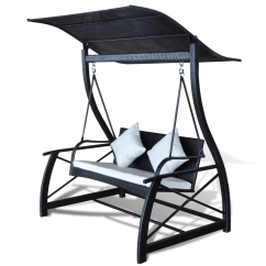 Rattan Swing Chair Nz Strap Patio Chairs Black Rocking With Pendant Roof