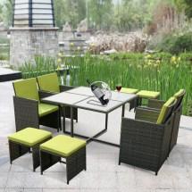 Green Ikayaa 9pcs 8-seater Rattan Patio Garden Outdoor