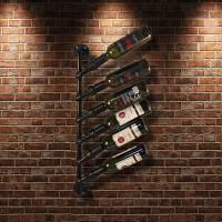 black iKayaa Industrial 6 Bottle Wall Mount Wine Rack ...