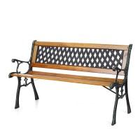 "wood iKayaa 50"" Cast Iron Wood Outdoor Garden Patio Bench ..."