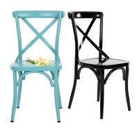 blue iKayaa Industrial Metal Kitchen Dining Chair ...