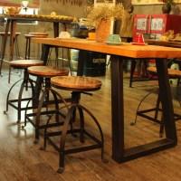 wood iKayaa Swivel Pinewood Bar Stool Rustic Kitchen ...
