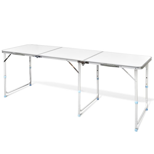 white Foldable Camping Table Height Adjustable Aluminium