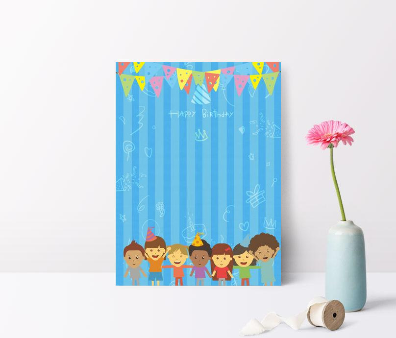 The party will be held in: Blue Cartoon Cute Birthday Party Invitation Background Background Download Free Poster Background Image On Lovepik 605763709