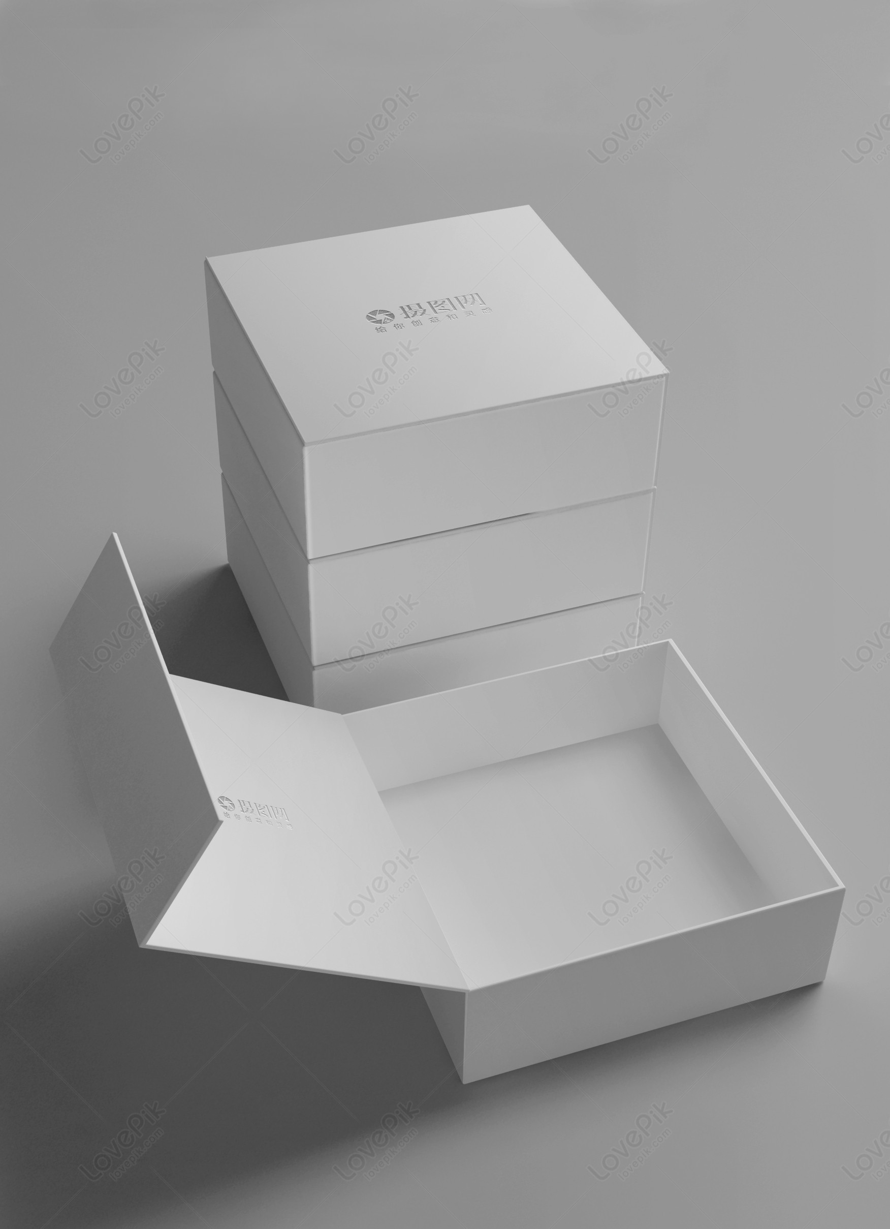 White gift box packaging mockup template image_picture free download 400837068_lovepikcom