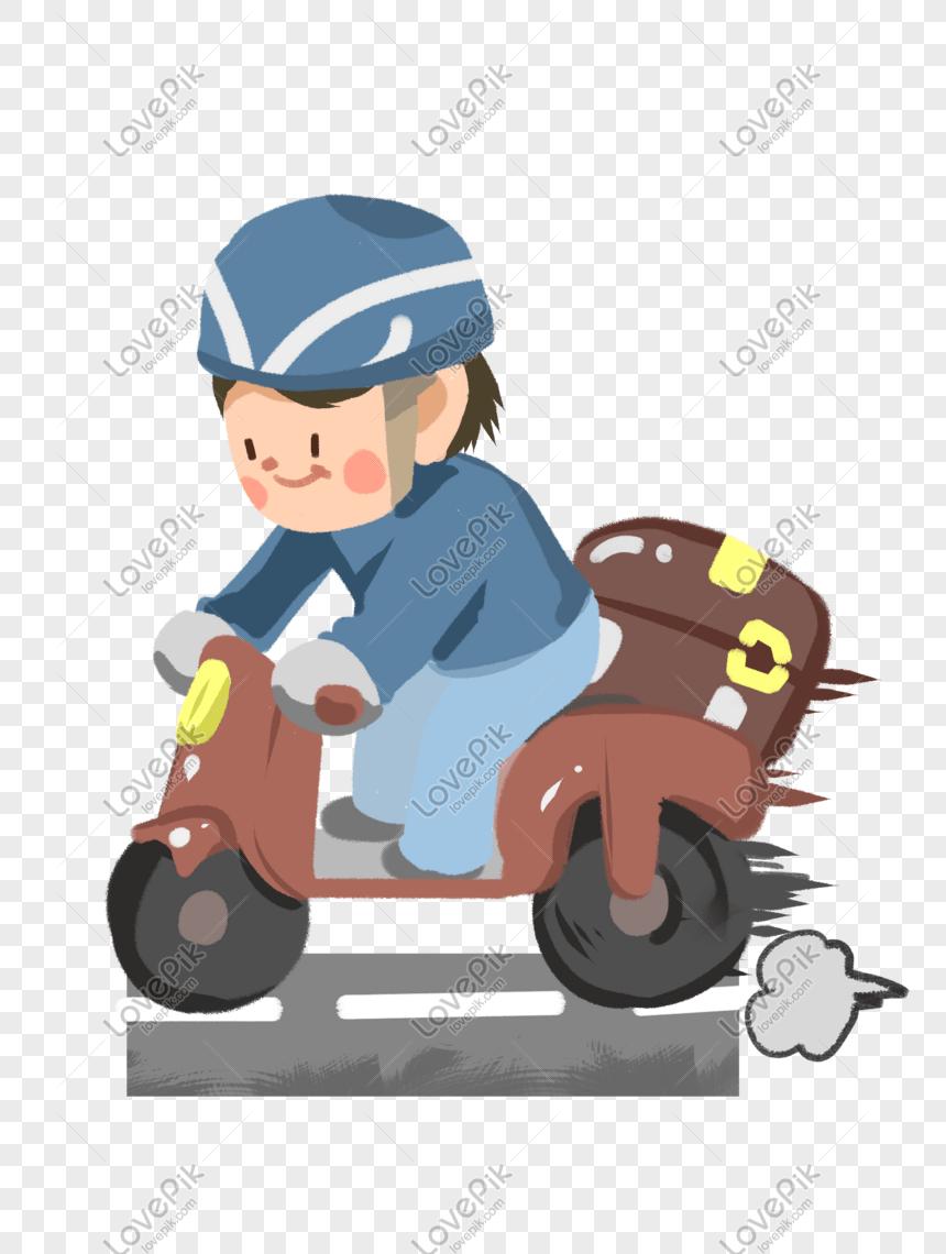 Naik Motor Png : motor, Takeaway, Brother, Riding, Motorcycle, Image_picture, Download, 401183020_lovepik.com