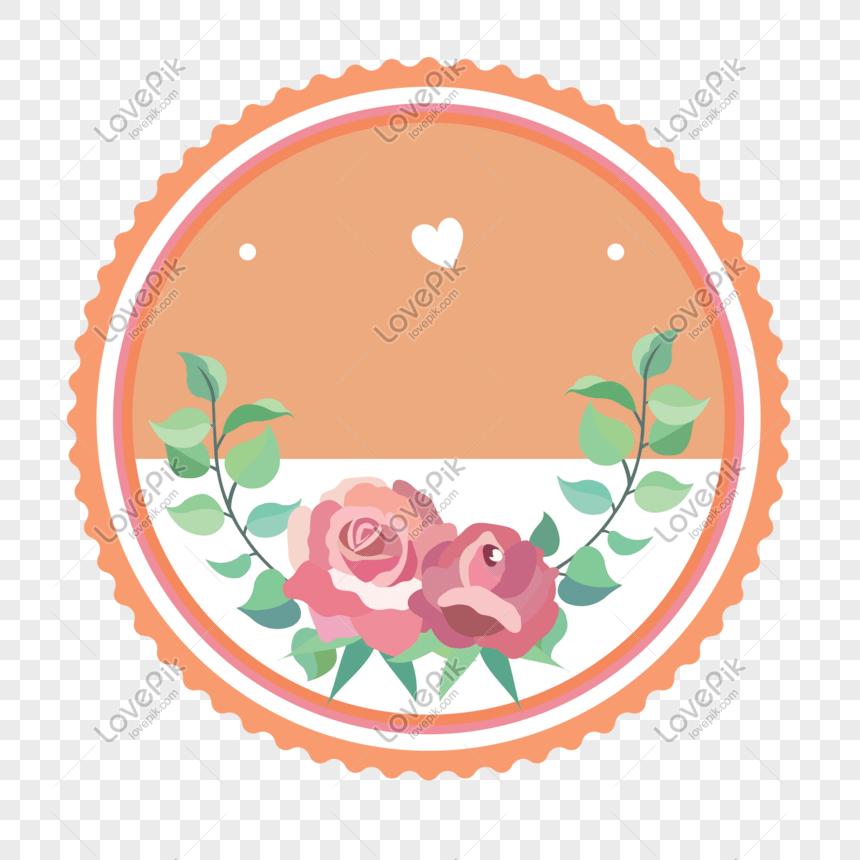 flower orange border label