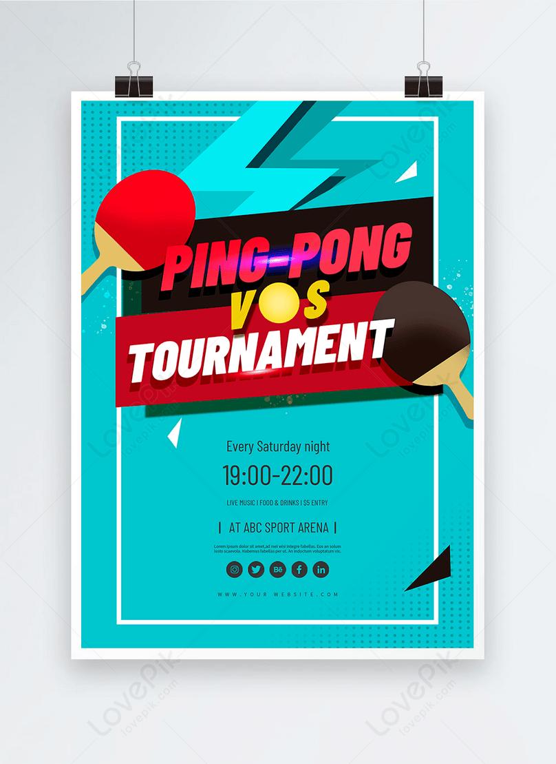 retro blue ping pong tournament poster