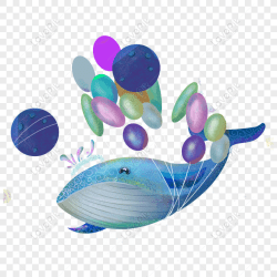Free hand painted blue whale transparent material PNG & PSD image download size 1024 × 1024 px ID 833552059 Lovepik