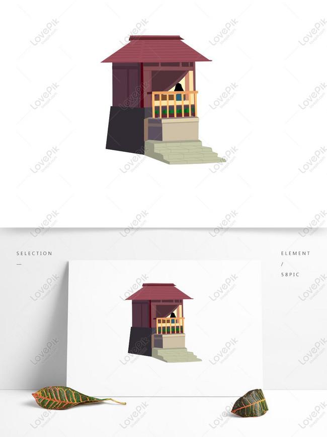 Gambar Atap Rumah Kartun : gambar, rumah, kartun, Kartun, Rumah, Merah, Elemen, Antik, Gambar, Unduh, Gratis_, Grafik, 728762812_Format, PSD_lovepik.com