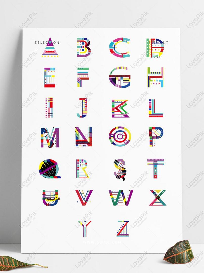 彩色幾何線條數碼賽克拼貼英文字母AI美工圖案免費下載-素材分辨率1369 × 1024px - Lovepik ID728800923