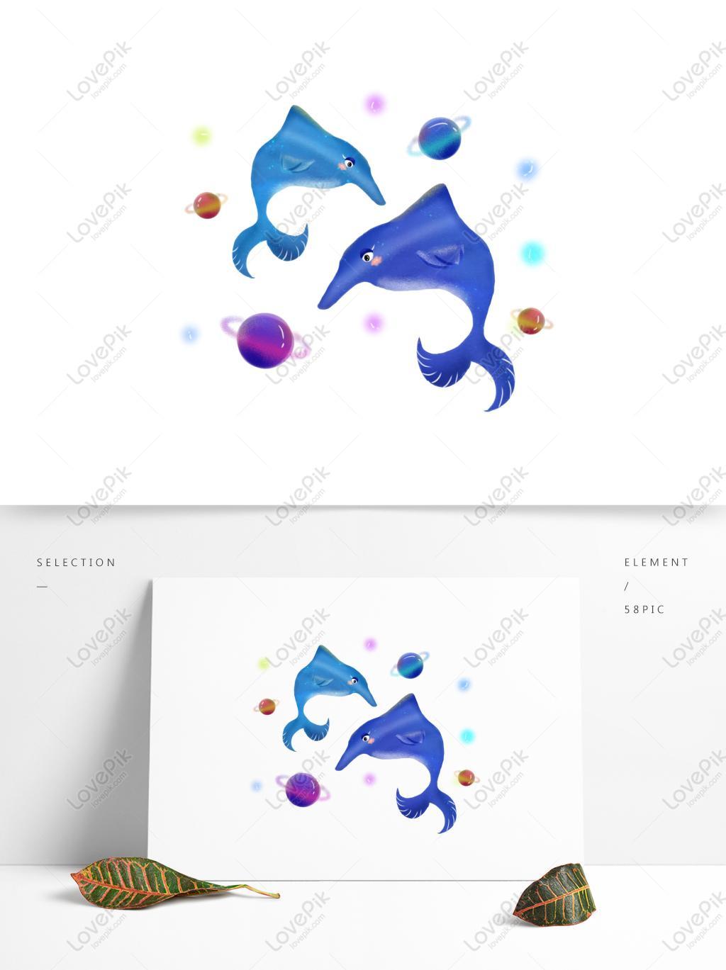 夢幻星海之海豚生物手繪風元素可商用素材PSD美工圖案免費下載-素材分辨率1369 × 1024px - Lovepik ID732270453