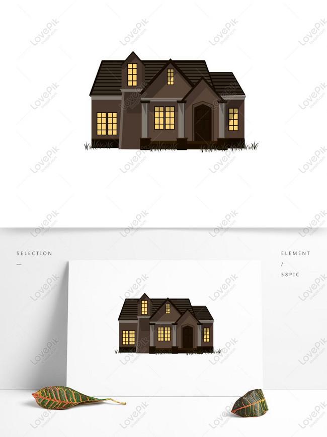Gambar Atap Rumah Kartun : gambar, rumah, kartun, Elemen, Komersial, Rumah, Kartun, Gambar, Unduh, Gratis_, Grafik, 732385968_Format, PSD_lovepik.com