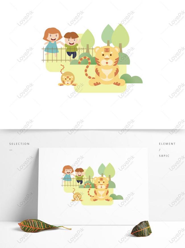 Gambar Kebun Binatang Kartun : gambar, kebun, binatang, kartun, Elemen, Vektor, Wisata, Kebun, Binatang, Kartun, Datar, Minimalis, Gambar, Unduh, Gratis_, Grafik, 732404207_Format, AI_lovepik.com