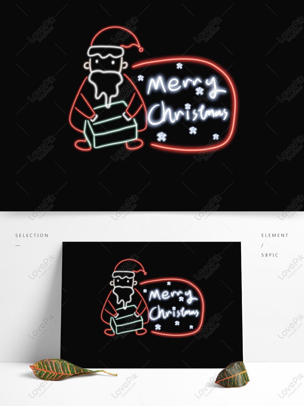 聖誕節發光霓虹燈聖誕老人聖誕發光字體邊框PSD美工圖案免費下載-素材分辨率1369 × 1024px - Lovepik ID732495162