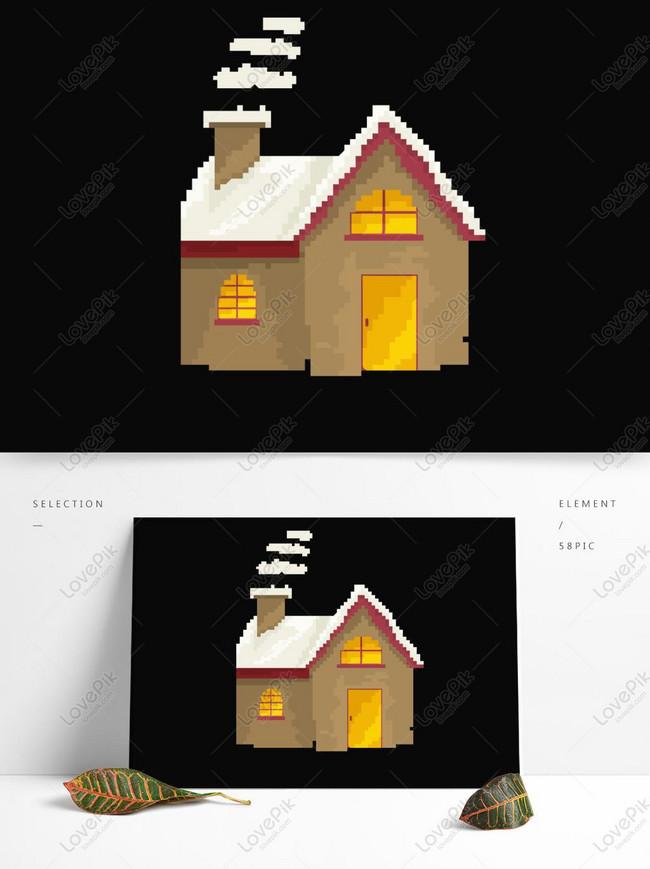 Gambar Atap Rumah Kartun : gambar, rumah, kartun, Desain, Kartun, Rumah, Cerobong, Pixelated, Retro, Gambar, Unduh, Gratis_, Grafik, 732819088_Format, PSD_lovepik.com