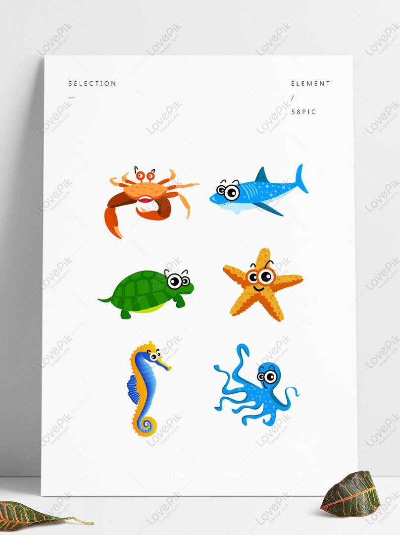 Gambar Kartun Binatang Laut : gambar, kartun, binatang, Unsur, Haiwan, Kartun, Menyusun, Ilustrasi, Untuk, Kegunaan, Gambar, Unduh, Gratis_imej, 733330341_Format, CDR_my.lovepik.com