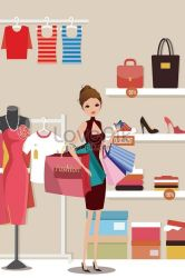Cartoon female life buy clothes shopping lifestyle illustration illustration image picture free download 630014841 lovepik com