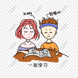 Cartoon cute hand drawn couple studying together png image picture free download 611016111 lovepik com
