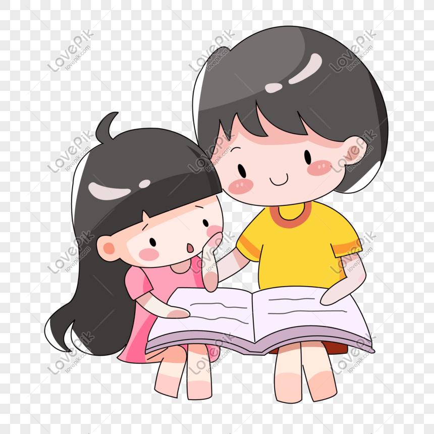 dibujos animados dibujados a mano padres con nios leyendo