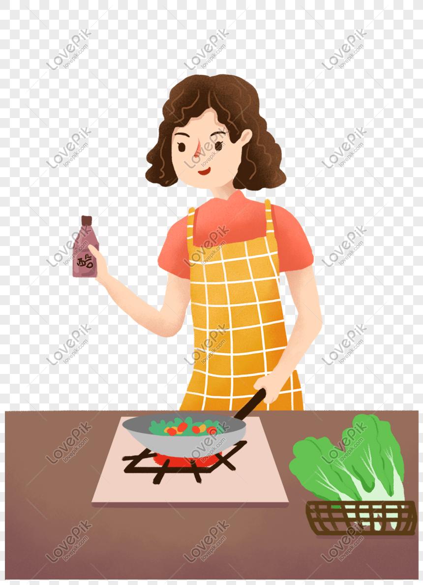 Gambar Ibu Sedang Memasak : gambar, sedang, memasak, Housewife, Cooking, Theme, Illustration, Image_picture, Download, 611280274_lovepik.com