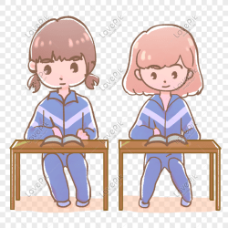 Cartoon hand drawn cute girl studying seriously png image picture free download 611523224 lovepik com