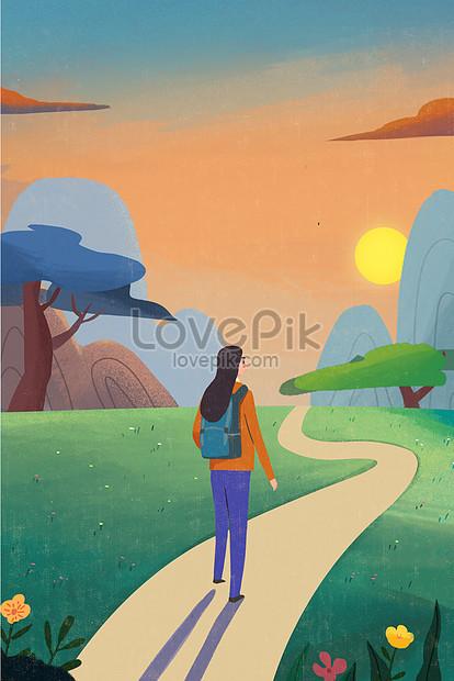 Gambar Pegunungan Kartun : gambar, pegunungan, kartun, Mountaineering, Tourist, Cartoon, Illustration, Image_picture, Download, 630022533_lovepik.com